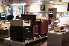 The technical museum in Vienna exhibits the production of exposition is devoted to the development of computers and the Internet n. VIENNA, AUSTRIA - 24 AUGUST Royalty Free Stock Image
