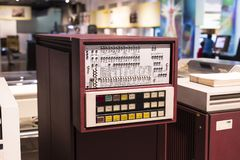 The technical museum in Vienna exhibits the production of exposition is devoted to the development of computers and the Internet n. VIENNA, AUSTRIA - 24 AUGUST Stock Photo