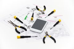 Technical operator and repair smartphone Royalty Free Stock Image
