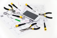 Technical operator and repair smartphone Royalty Free Stock Photography