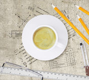 Technical plan of building, pencils, ruler, Stock Images