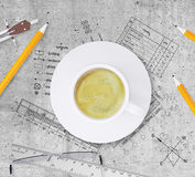 Technical plan of building, pencils, ruler, Royalty Free Stock Photo