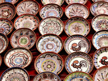 Technical and popular art pottery. Handmade in the Horezu area, Romania stock photos