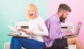 Technical progress. Woman annoyed retro typewriter and man modern laptop. Take advantage technology development. Technical progress. Woman annoyed retro stock image