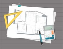 Technical project architect house plan blueprint. Construction background. vector illustration