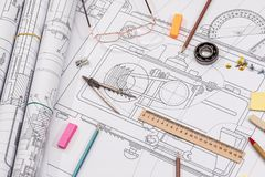 Technical project drawing with engineering tools. Workplace - technical project drawing with engineering tools. Construction background royalty free stock photo