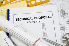 Technical proposal. With engineering materials and pencil Stock Photos