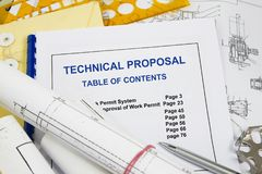 Technical Proposal. Tehnical Proposal brochure with blueprint and pencil stock photo
