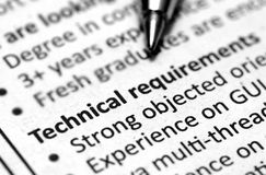 Technical requirement Stock Photo