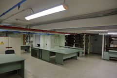 The technical room in the basement. Basement area to accommodate the technicians and engineers Stock Image