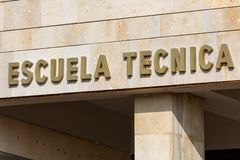 Technical School Poster. In Spanish stock images