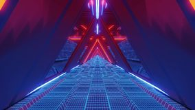 Technical scifi space warship tunnel corridor with glowing wireframe bottom an glass windows 3d illustration live