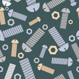 Technical seamless pattern bolts and nuts. Vector background. Royalty Free Stock Photo