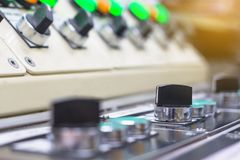 Technical selector switch on control panel with electrical equip Royalty Free Stock Image