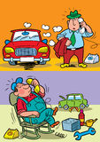Technical service. The illustration shows the driver of the car.He calls the service of technical service at the car repair.Illustration done in cartoon style Stock Images
