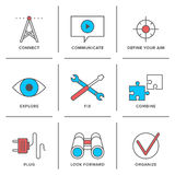 Technical service line icons set Royalty Free Stock Photos