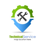 Technical service location pin Royalty Free Stock Images
