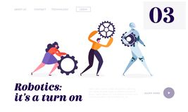 Technical Service Robot Landing Page. Special Crew of Maintenance Machine. Character Moving Replacement Part vector illustration