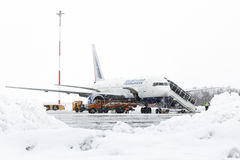 Technical and service support airfield maintenance Boeing-767 at airport Petropavlovsk-Kamchatsky Stock Photo