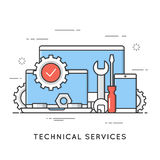 Technical services, computer repair, support. Flat line art styl. E concept. Vector banner, icon, illustration Editable stroke Royalty Free Stock Images
