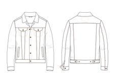 Technical sketch of denim jacket in vector. Technical sketch of man denim jacket in vector. Fashion illustration Stock Images