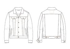 Free Technical Sketch Of Denim Jacket In Vector. Stock Images - 103892644
