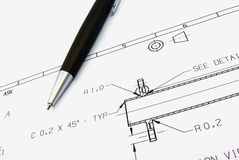 Technical sketch and pen Stock Images