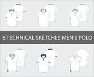 Technical sketches set of men`s Short Sleeve Polo Shirts royalty free illustration