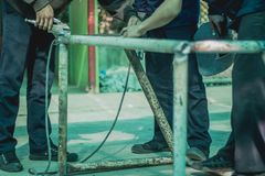 Technical students are helping to make a small soccer goal. Technical students are helping to make a small soccer goal in school Royalty Free Stock Photography