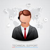Technical support Background. Man with icons. Royalty Free Stock Photography