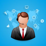 Technical support blue background. Man with icons. Royalty Free Stock Photography