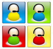 Technical support button set. Web button set: colorful customer support icons stock illustration