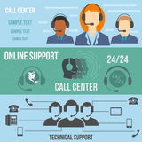Technical support call center banners. Set. Flat color icons Stock Photos