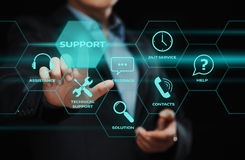 Technical Support Center Customer Service Internet Business Technology Concept. Businessman press button. Technical Support Center Customer Service Internet Royalty Free Stock Photo