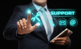 Technical Support Center Customer Service Internet Business Technology Concept. Businessman press button. Technical Support Center Customer Service Internet Royalty Free Stock Images