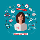 Technical Support. Email Support. Online Service. Woman Operator Stock Photo