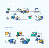 Technical Support, Finance Icons Business Concept Compositions Set Stock Photography
