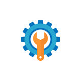 Technical support flat icon. Seo and development, repair service, a colorful solid pattern on a white background, eps 10 Royalty Free Stock Image