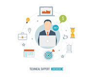 Technical support flat illustration. Operator and customer. Strategy for successful business. Investment growth.  Investment management. Vector illustration Stock Photos