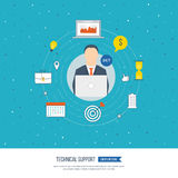 Technical support flat illustration. Operator and customer. Strategy for successful business. Investment growth.  Investment management. Vector illustration Stock Photo