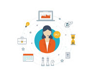 Technical support flat illustration.  Strategy for successful business. Technical support flat illustration.  Operator and customer. Strategy for successful Stock Photography