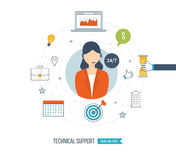 Technical support flat illustration.  Strategy for successful business. Technical support flat illustration.  Operator and customer. Strategy for successful Stock Image