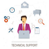Technical support flat style. Woman and icons Stock Photography
