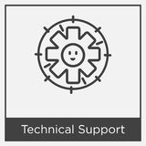 Technical Support icon isolated on white background. With gray frame, sign and symbol Royalty Free Stock Photography