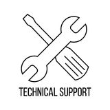 Technical support icon or logo line art style. Royalty Free Stock Photos