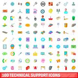 100 technical support icons set, cartoon style. 100 technical support icons set in cartoon style for any design illustration stock illustration