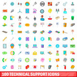100 technical support icons set, cartoon style. 100 technical support icons set in cartoon style for any design vector illustration Vector Illustration