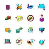 Technical support icons set cartoon Stock Photos