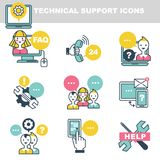 Technical support icons which symbolize help by phone or Internet. Special workers, chat clouds, tools symbol, modern devices and old retro handset isolated Royalty Free Stock Photos