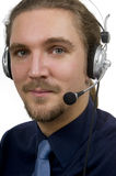 Technical support male service representative. Young male customer service representative with headset Royalty Free Stock Photography